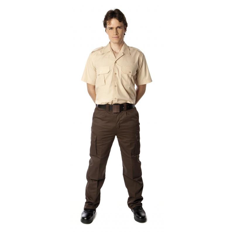 Camisa manga corta de vigilante con cuello legionario. Regulable. 0d152ee32e163