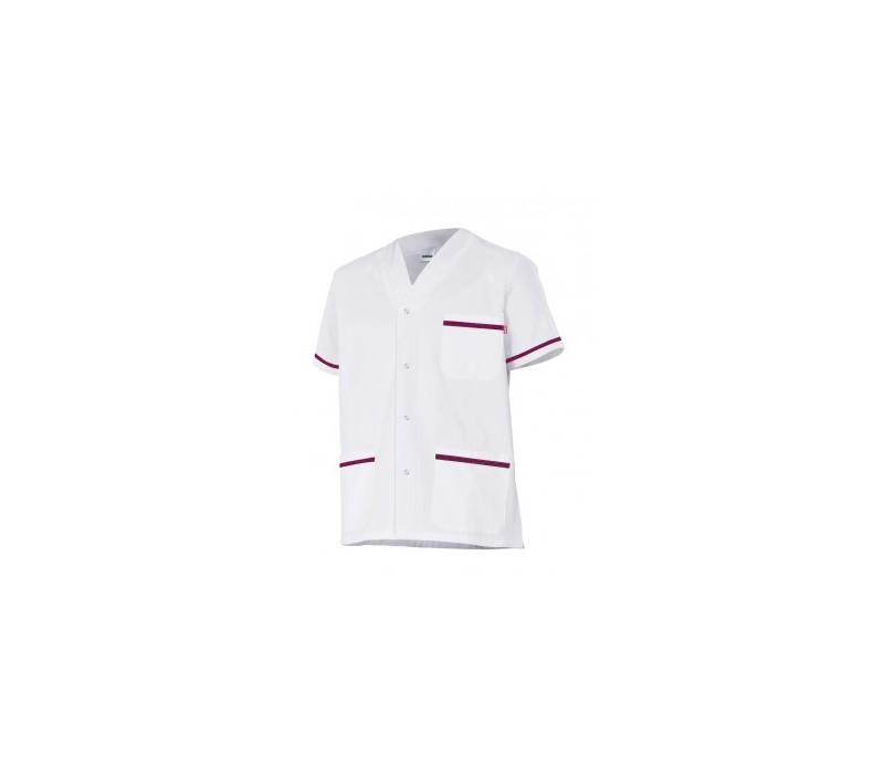 Chaqueta pijama sanitario Blanco con ribetes en color
