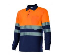 Polo manga larga alta visibilidad naranja azul marino
