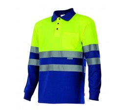 Polo manga larga alta visibilidad amarillo azul