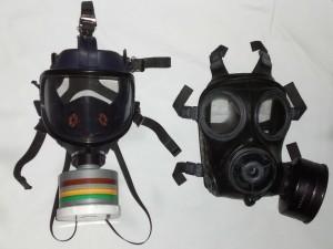 máscara industrial y máscara militar